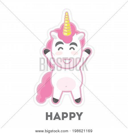 Isolated happy unicorn. Funny cartoon mythical animal.