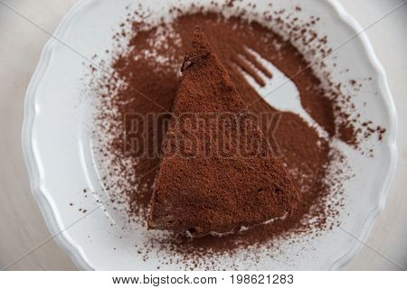 A slice of delicious chocolate tart gateaux