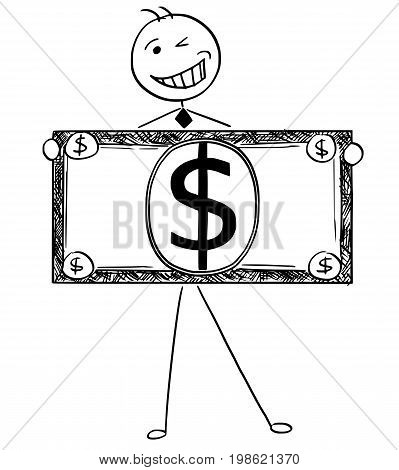 Cartoon illustration of happy smiling stick man businessman manager clerk or politician posing with large dollar bill or banknote