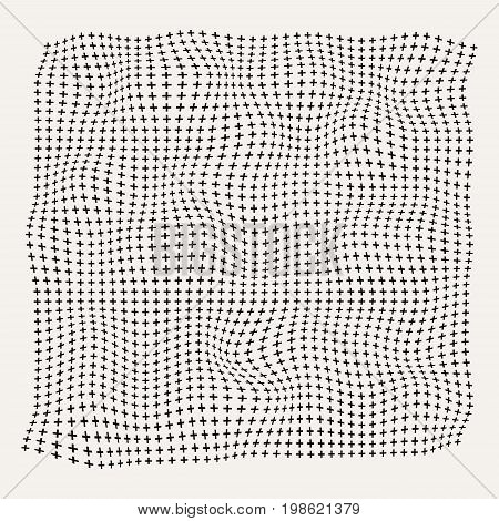 Halftone waves plus symbol pattern on old white background rough surface Vector Illustration