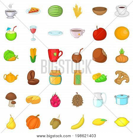 Vegetarian kitchen icons set. Cartoon style of 36 vegetarian kitchen ector icons for web isolated on white background