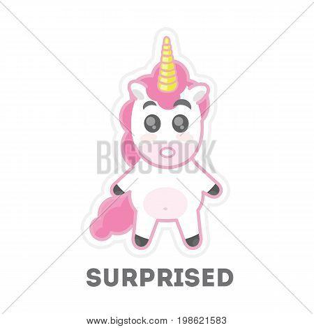 Isolated surprised unicorn. Funny cartoon animal on white background.