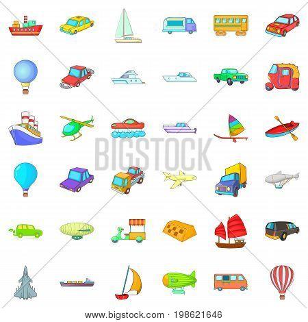 Big vehicle icons set. Cartoon style of 36 big vehicle vector icons for web isolated on white background
