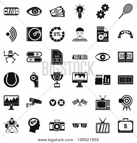 Video film icons set. Simple style of 36 video film vector icons for web isolated on white background
