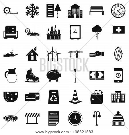Villa for rest icons set. Simple style of 36 villa for rest vector icons for web isolated on white background