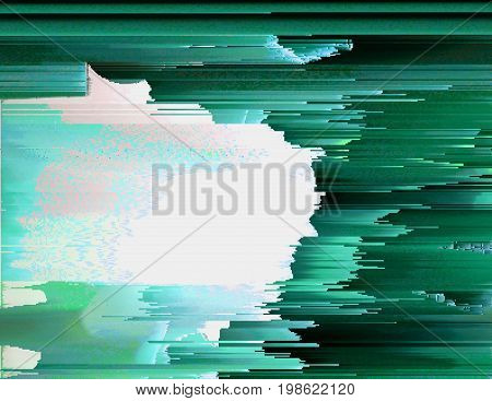 Colorful glitched background. Modern abstract generative illustration made of vector pixel mosaic. Distorted image processing. Random digital signal error. Collapsing array of data. Element of design.