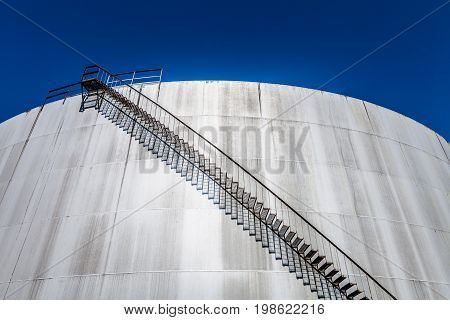 Detail Of A Big Abandoned Oil Refinery Gas Tank
