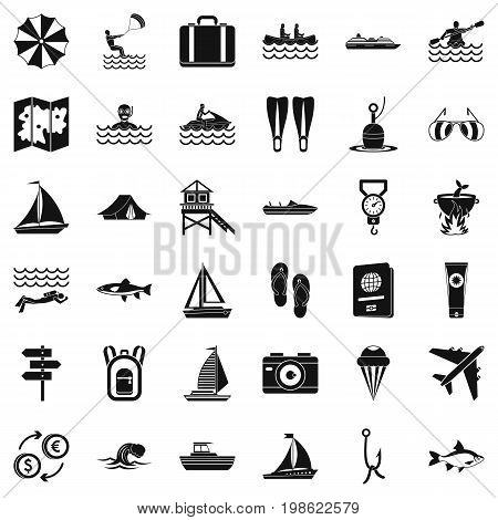 Clean water creation icons set. Simple style of 36 clean water vector icons for web isolated on white background