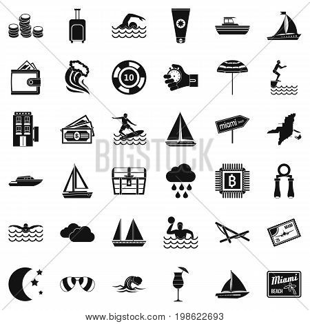 Jump in water icons set. Simple style of 36 jump in water vector icons for web isolated on white background