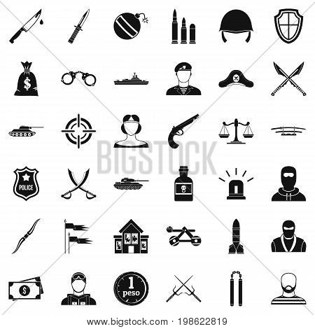 War weapon icons set. Simple style of 36 war weapon vector icons for web isolated on white background