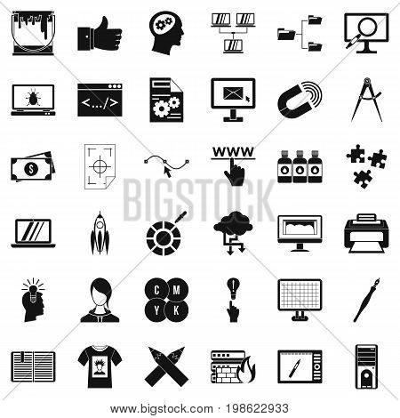 Web marketing icons set. Simple style of 36 web marketing vector icons for web isolated on white background