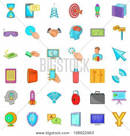 Web site icons set. Cartoon style of 36 web site vector icons for web isolated on white background