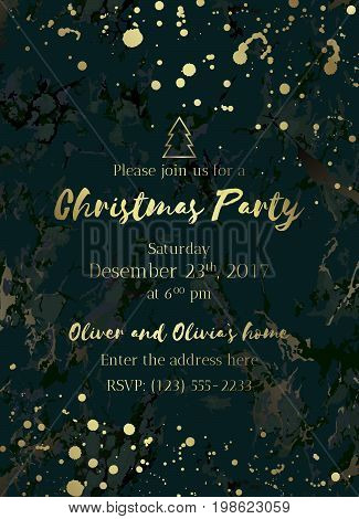 Invitation to a holiday party. Green marble background and gold text. Christmas design template for banner, flyer or poster. Dimensions 5x7 inch, 0.125 bleed size. Seamless pattern included. Eps10.