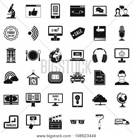 Web message icons set. Simple style of 36 web message vector icons for web isolated on white background