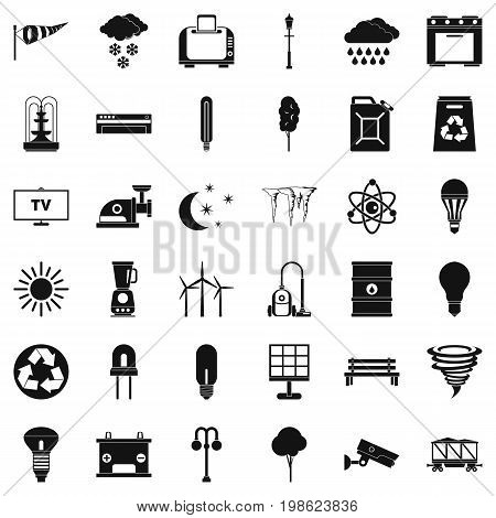 Windmill village icons set. Simple style of 36 windmill village vector icons for web isolated on white background