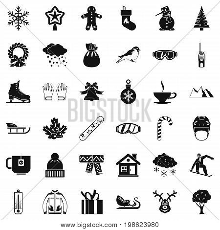 Winter clothes icons set. Simple style of 36 winter clothes vector icons for web isolated on white background