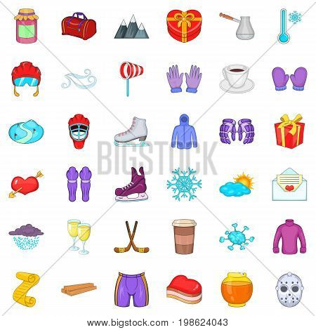 Winter frost icons set. Cartoon style of 36 winter frost ector icons for web isolated on white background