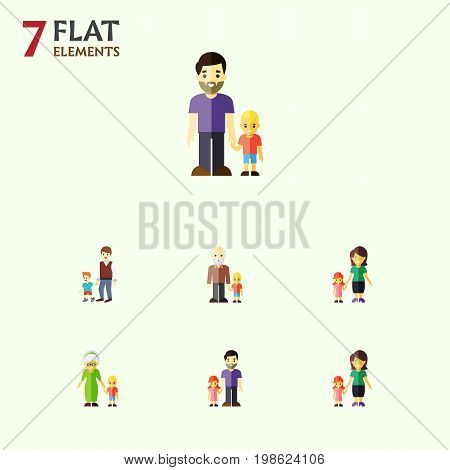 Flat Icon Family Set Of Daugther, Boys, Mother And Other Vector Objects