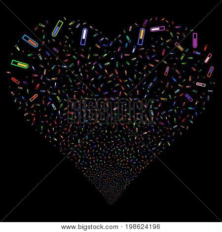 Test Tube fireworks with heart shape. Vector illustration style is flat bright multicolored iconic symbols on a black background. Object salute created from confetti pictograms.