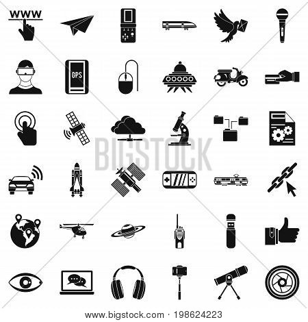 Radio technology icons set. Simple style of 36 radio technology vector icons for web isolated on white background
