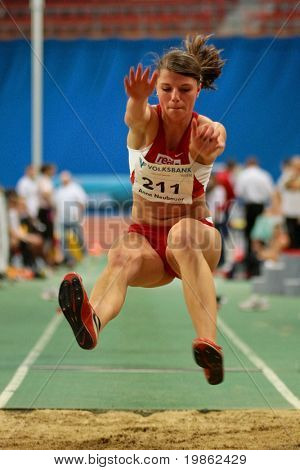 VIENNA, AUSTRIA - FEBRUARY 3, 2009: International indoor track and field meeting in Vienna: Anne Neubauer, Germany, places fifth in the womens long jump competition.