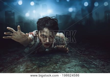 Creepy Asian Zombie Man Lying Down On With Wounded Face
