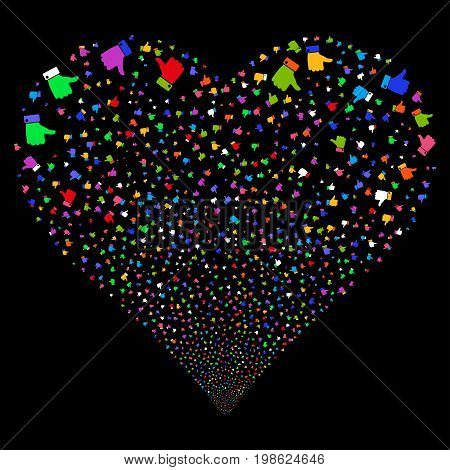 Thumb Up fireworks with heart shape. Vector illustration style is flat bright multicolored iconic symbols on a black background. Object heart made from random pictograms.