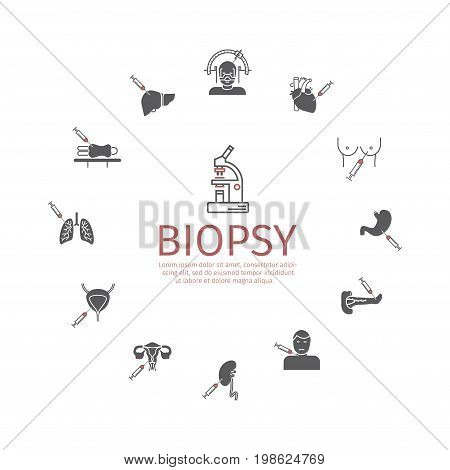 Biopsy: Types of biopsy procedures used to diagnose cancer. Icons set. Vector signs for web graphics.