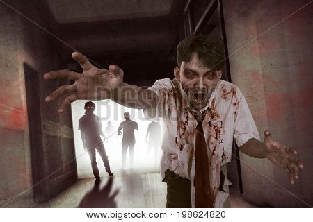 Portrait Of Aggresive Asian Zombies Walking Out