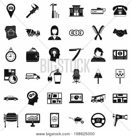 Delivery work icons set. Simple style of 36 delivery work vector icons for web isolated on white background