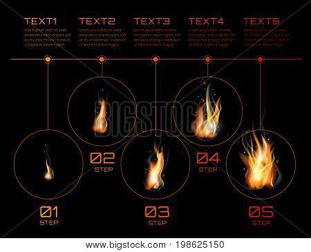 Realistic fire flames set. Infographics. Vector illustration