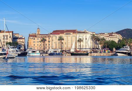 Ajaccio Port. Cityscape With Moored Yachts