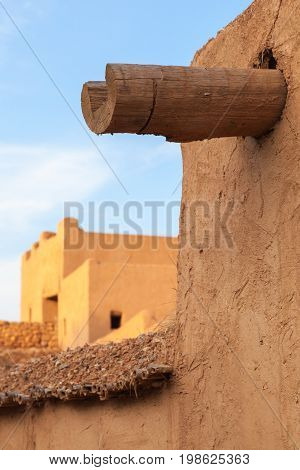 Wooden Drain Made Of Log. Ancient Fortress