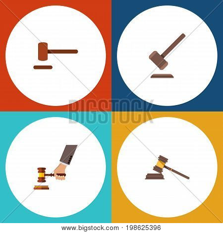 Flat Icon Hammer Set Of Court, Defense, Crime And Other Vector Objects