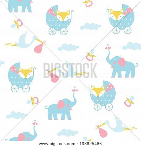 Seamless baby pattern on a white background. Vector illustration