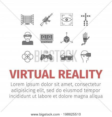 Set of vector icons of devices for virtual reality. Vector icons