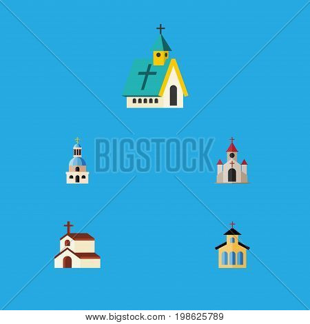 Flat Icon Christian Set Of Traditional, Catholic, Architecture And Other Vector Objects