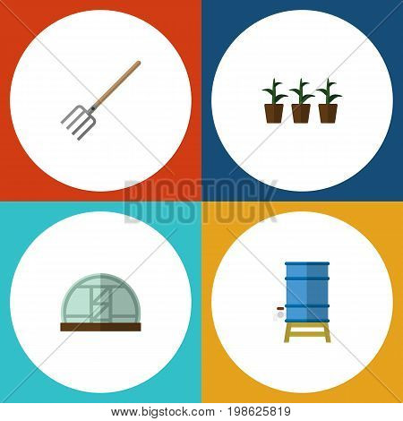 Flat Icon Farm Set Of Flowerpot, Hay Fork, Container And Other Vector Objects