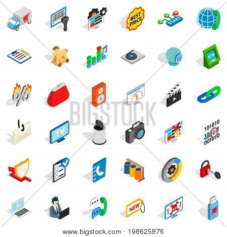 WWW spam icons set. Isometric style of 36 www spam vector icons for web isolated on white background