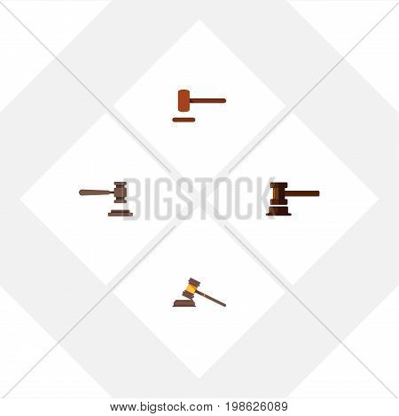 Flat Icon Hammer Set Of Government Building, Legal, Defense And Other Vector Objects
