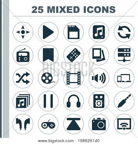 Multimedia Icons Set. Collection Of Signal, Eject, Begin And Other Elements