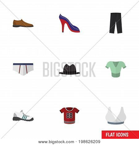 Flat Icon Garment Set Of Underclothes, Male Footware, Heeled Shoe And Other Vector Objects