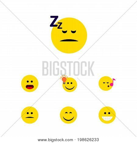 Flat Icon Face Set Of Wonder, Displeased, Have An Good Opinion And Other Vector Objects