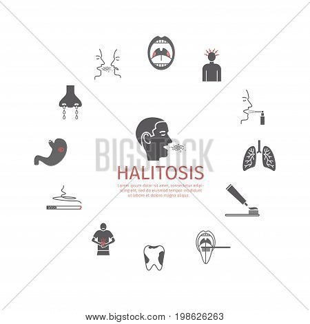 Halitosis. Symptoms, Treatment. Information. Icons set Vector signs for web graphics