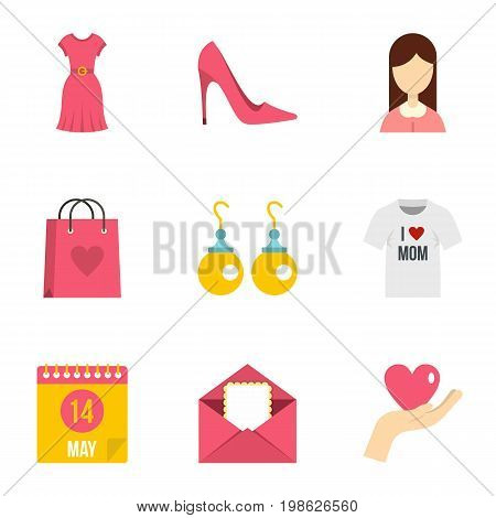 Happy mama day icon set. Flat style set of 9 mother day vector icons for web isolated on white background