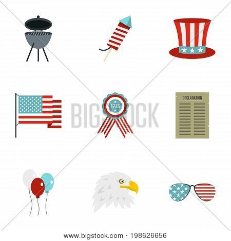 USA patriotic holiday icon set. Flat style set of 9 independence day vector icons for web isolated on white background