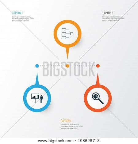 Management Icons Set. Collection Of System Structure, Project Analysis, Project Presentation And Other Elements