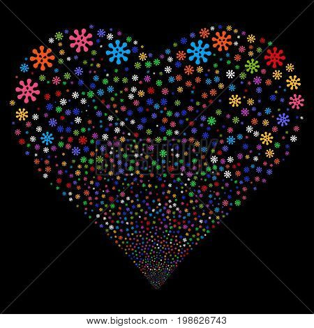 Virus fireworks with heart shape. Vector illustration style is flat bright multicolored iconic symbols on a black background. Object heart combined from confetti pictograms.