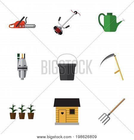 Flat Icon Farm Set Of Pump, Grass-Cutter, Pail And Other Vector Objects