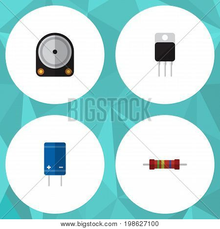 Flat Icon Electronics Set Of Resistance, Transistor, Receiver And Other Vector Objects